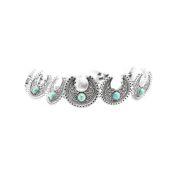 Vintage Faux Turquoise Moon Engraved Choker Silver (€3,73) ❤ liked on Polyvore featuring jewelry, necklaces, vintage necklace, vintage jewelry, silver jewellery, vintage turquoise jewelry and vintage turquoise necklace