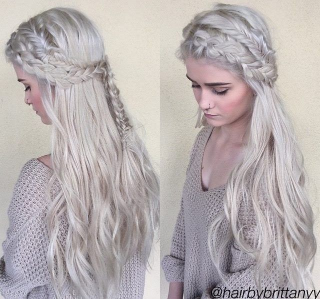 Game of Thrones doppelganger braids and color by Brittany at Habit Salon in Gilbert, AZ. #hairstyle #braids #gameofthones