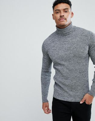 ecd5e3cbbe1 DESIGN muscle fit ribbed roll neck sweater in black & white twist in ...