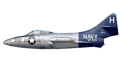 Grumman F-9 F 5 del escuadrón VF-153, USS Coral Sea, U.S. Navy, 1952. Pin by Paolo Marzioli