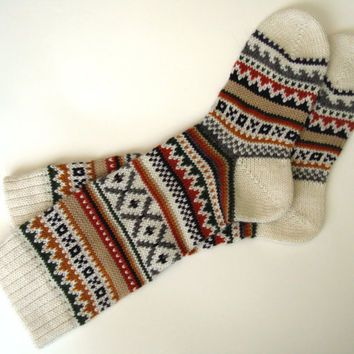 handknit mens thick wool socks - Google Search