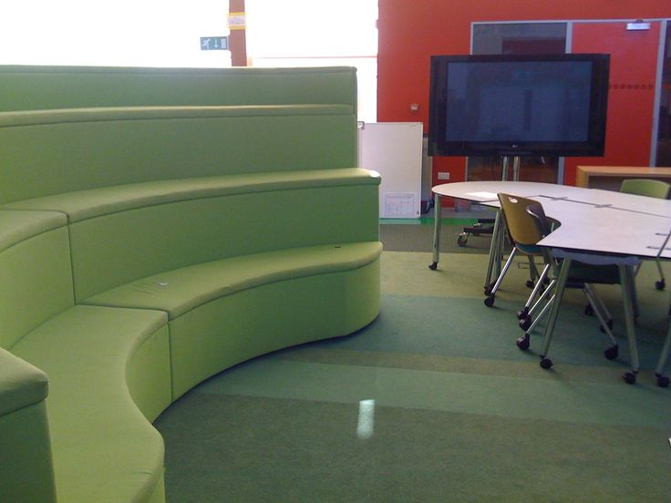"more tiered ""everyone together for a short input"" seating - this in Kent's New Line Academy in the UK"