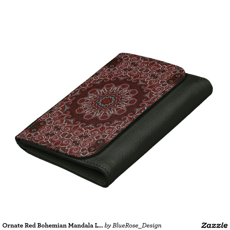 Ornate Red Bohemian Mandala Leather Wallet