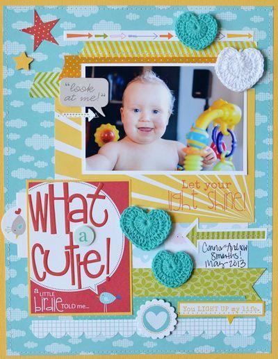 Bella Blvd. Play Date. Crochet Hearts. Layout by DT Member Jennifer Chapin