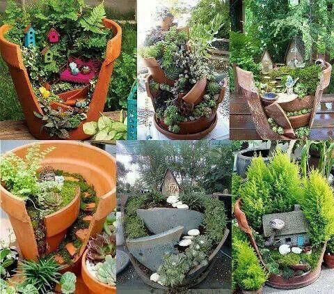 Fairy gardensGardens Ideas, Broken Pots, Gardens Can, Minis Gardens, Fairies Gardens, Fairies House, Flower Pots, Clay Pots, Miniatures Gardens