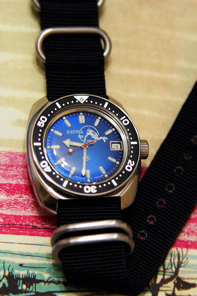 vostok ministry 710 scuba dude blue with seiko bezel ...