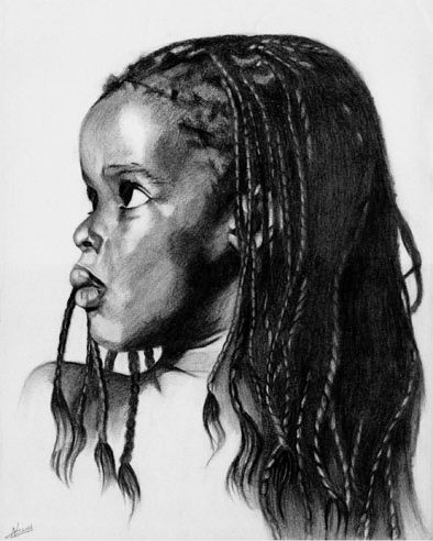 Little girl drawing charcoal