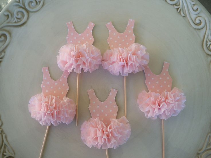 Ballerina Tutu Cupcake Toppers set of 6 for ballet party. $12.00, via Etsy.