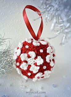 Новогодний шарик крючком из пряжи двух цветов. МК. Без перевода. / MyPicot