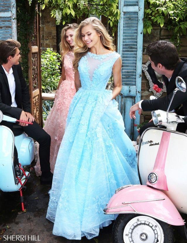Lace Illusion Sherri Hill 51099 Light Blue V-back Embroidered Prom Dress  Long
