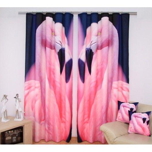 Závesy do spálne granátovej farby s ružovými plameniakmi