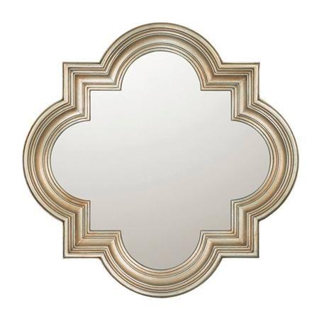 aged silver quatrefoil mirror