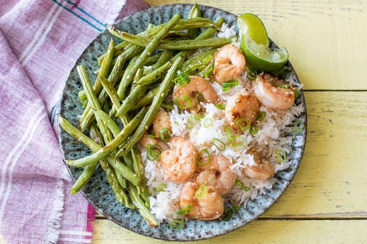 Sesame Shrimp with Ginger Scallion Rice and Crispy Green Beans – Hello Fresh Hall of Fame recipe