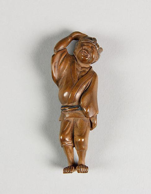 Sanshō (1871-1936) | Netsuke of Drunken Man | Japan | The Met