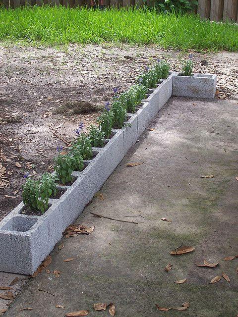 Cinder block garden yard pinterest cinder block garden cinder and gardens for Painting cinder blocks for garden