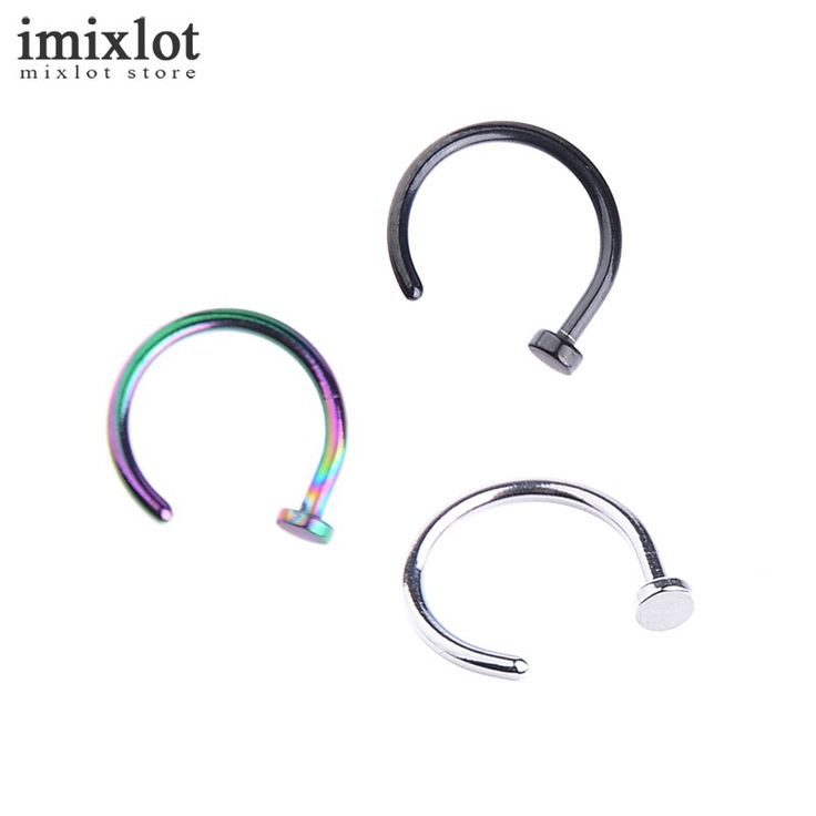 10Pcs Nostril Stainless Nose Hoop Nose Rings Clip On Nose Ring Body Fake Piercing Piercing Jewelry Black Silver Multi For Women
