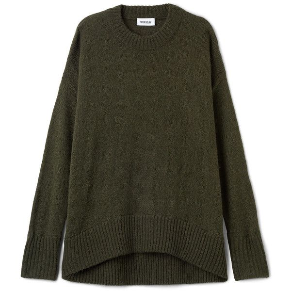 Manama Sweater - Smoky Olive - Knitwear - Weekday (160 BRL) ❤ liked on Polyvore featuring tops, sweaters, olive green top, relaxed fit tops, olive sweater, knitwear sweater and olive green sweater