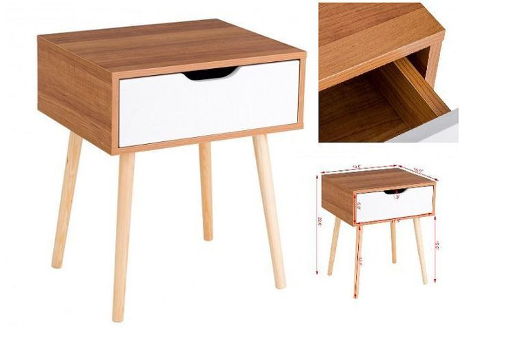 Wooden Tea Side Table Nightstand With Drawer Modern Retro Decor Furniture White #WoodenTeaSideTable #Modern