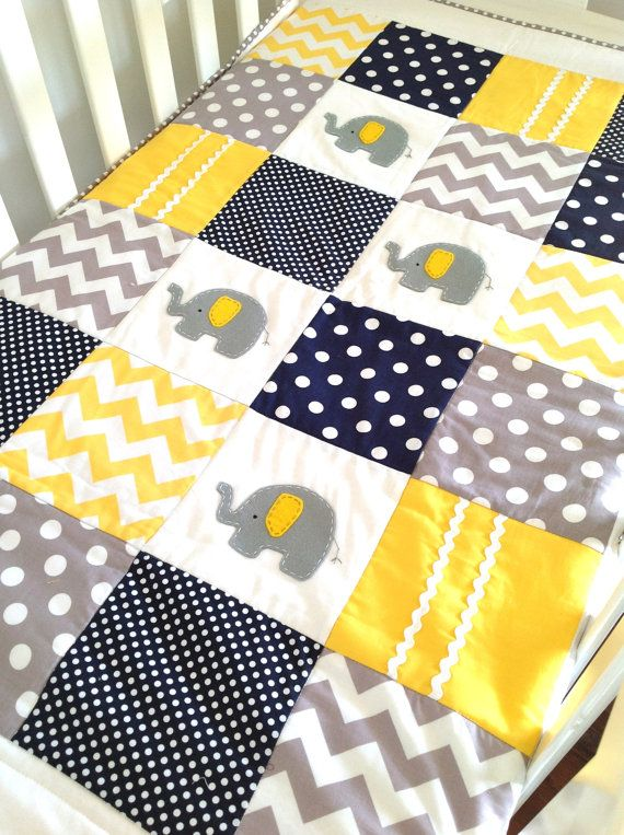Elephant Crib Quilt Set in navy gray and by AlphabetMonkey