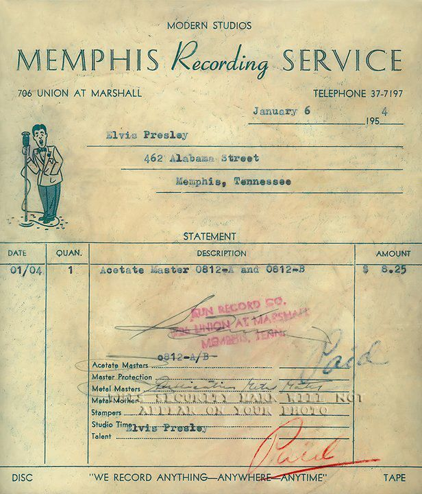 July 23, 1954 was the 58th anniversary for ELVIS PRESLEY's first Sun Records release. Check out this receipt for his first recordings at Sun!