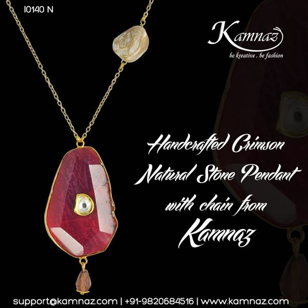 Handcrafted Crimson Natural Stone Pendant with chain #KamnazJewellery For prices contact support@kamnaz.com or call +91-9820684516 #kundan #necklace #kundanwork #chicnecklace #handmadejewellery #indochicjewellery #designerjewellery #fashionjewellery #jewelry #mumbai