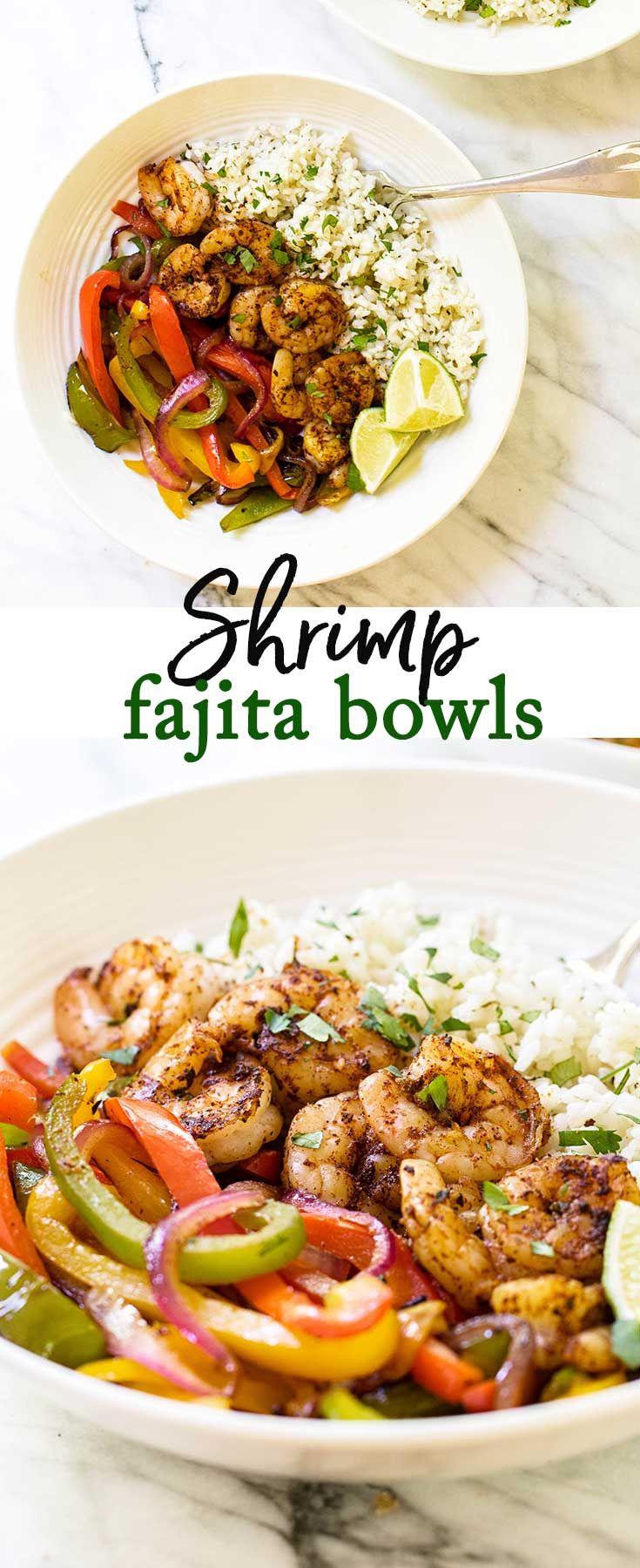 Skip the tortillas and serve shrimp fajitas over a bed of cilantro lime rice via @april7116