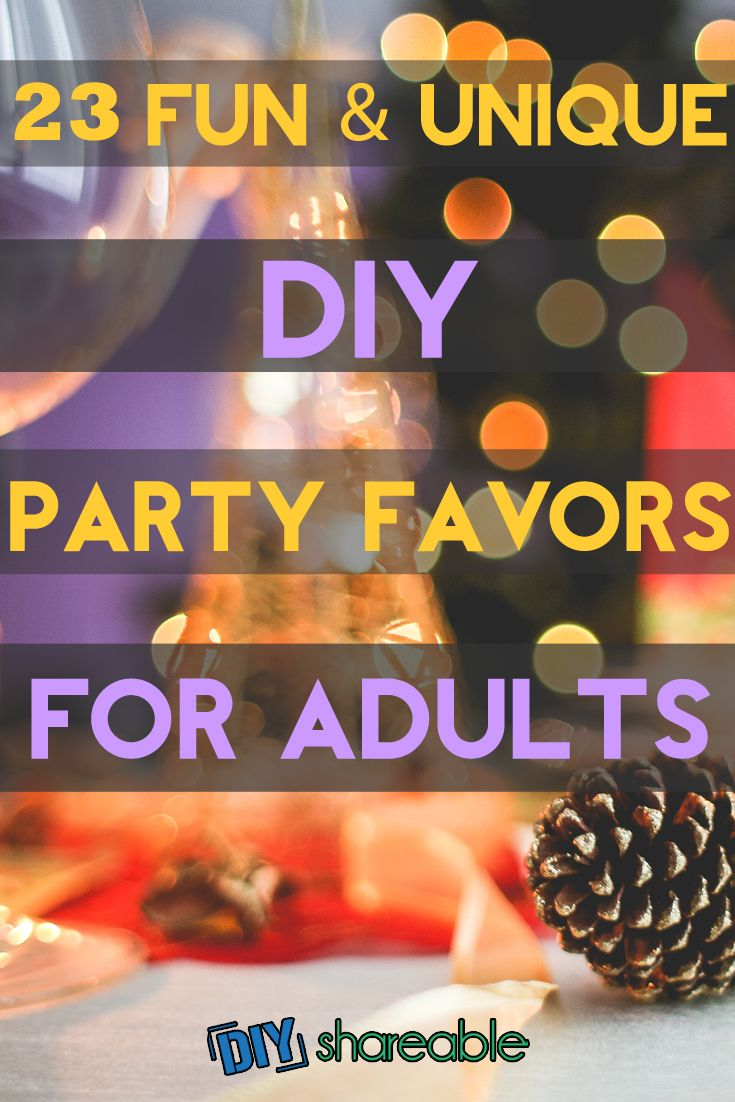 DIY Party Favors for Adults - Want to make your next shindig fun and memorable? I collected these creative, but cheap, party favor ideas to help you make some homemade goodie bags for your guests!