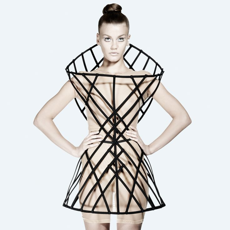 Architectural Fashion Design - experimental structural dress with bold symmetry & a hollow 3D cage construct // Chromat