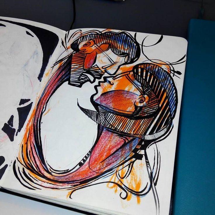 Composición de líneas y manchas sobre papel, tinta y lápices de colores