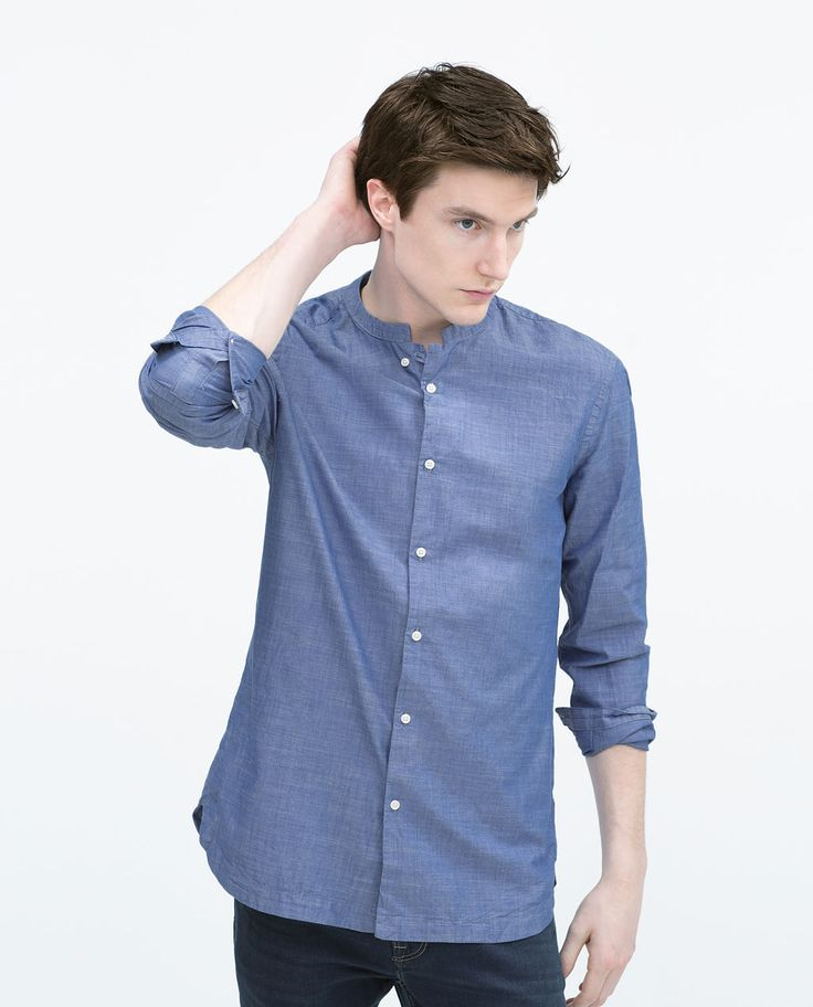 Image 1 of SLUB SHIRT WITH STAND COLLAR from Zara