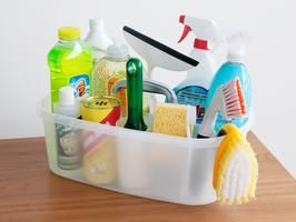EVERYTHING you need to clean the house in one caddy. See which 12 items to stock: http://www.hgtv.com/homekeeping/sabrina-sotos-cleaning-caddy-essentials/index.html?soc=pinterest