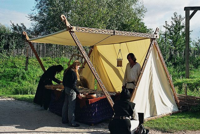 Viking merchant's tent -- would make a nice place to relax with friends during the day and eat meals
