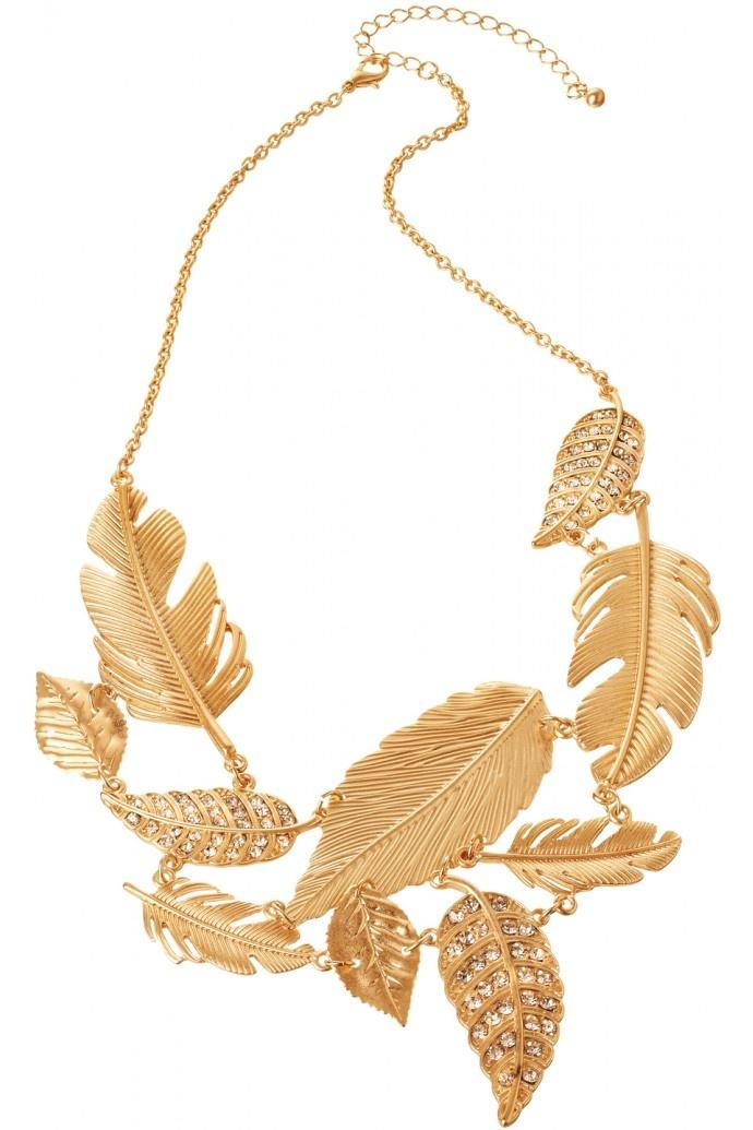 Gold Diamante Leaf Necklace in GOLD & DIAMANTE #2529 - colette by colette hayman