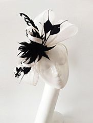 Kentucky Derby Church Races Black And White Flax Wedding Event Fascinator – USD $ 41.98