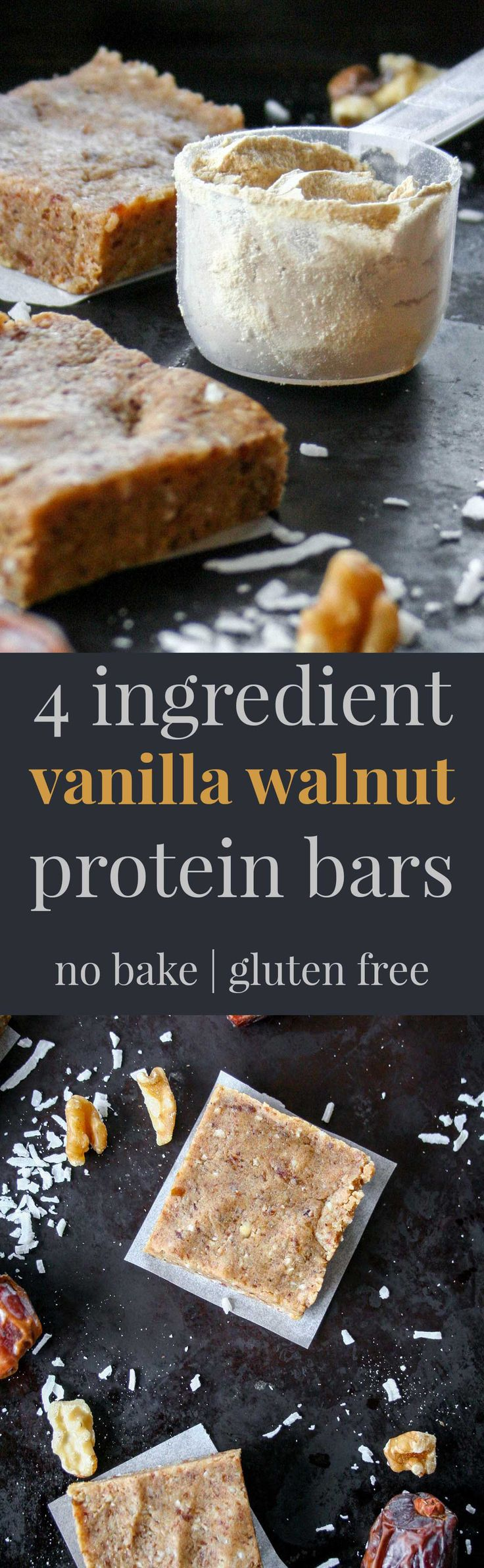 4-ingredient vanilla walnut protein bars are the perfect pre-workout snack to give you a boost of energy without filling you up or weighing you down. | protein, protein bar, healthy, easy, homemade, energy bite, energy ball | hungrybynature.com