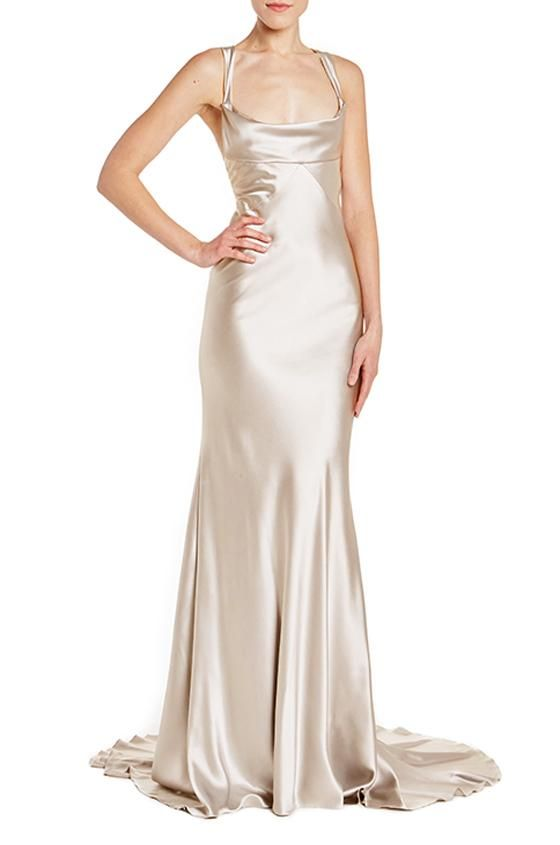 0bfb7637 -Latte cowl neck sheath gown-Crepe Back Satin-Hidden back zipper-Silk lined  Made in USA.Monique Lhuillier RTW Collection.50 Shade of Grey