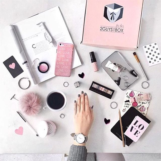 Everything pink and grey flatlay goals
