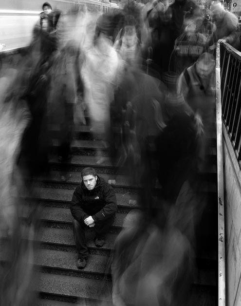 what world around me?    (Unusual portrait in a big hasty city  Zsolt Nyulaszi)