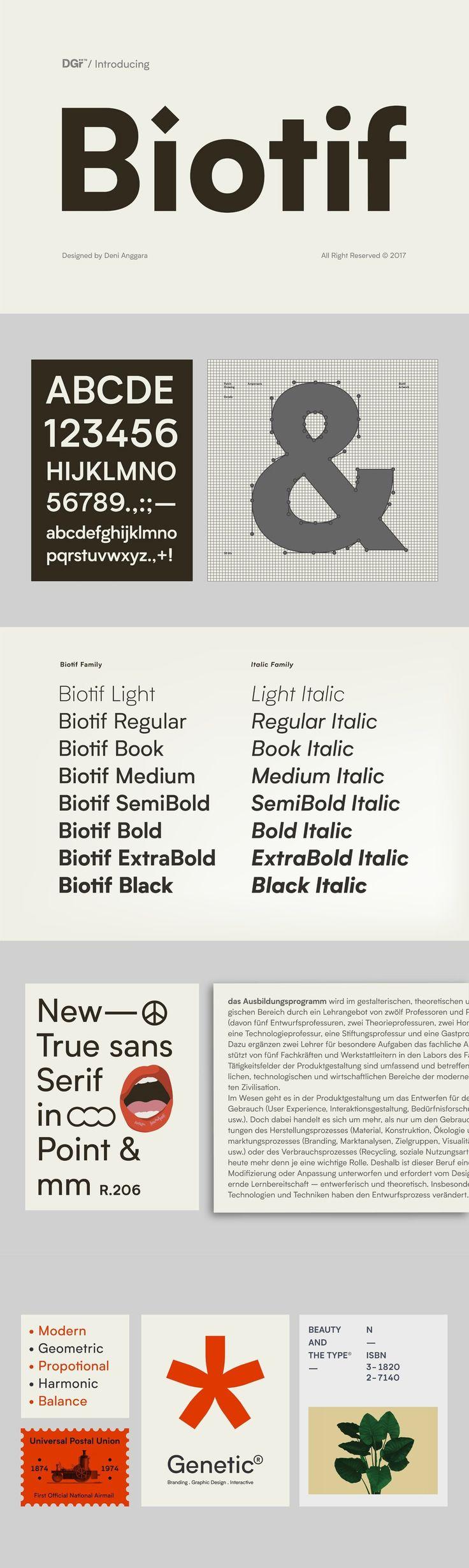 Biotif - Biotif is a 16 weight, geometric, sans-serif font design, inspired by modern style as well as indu...