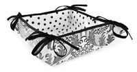 Reversible Oilcloth Bread Basket in Black and White Toile ~ Wipes clean with a damp cloth! www.oilclothalley.com