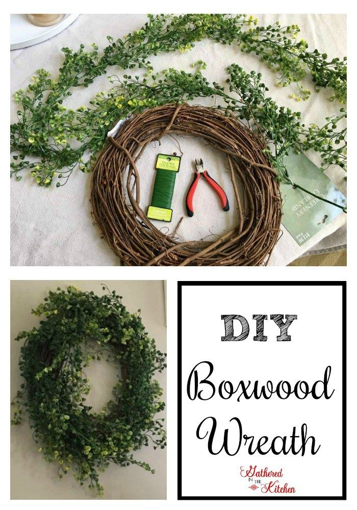 DIY Boxwood Wreath -step by step instructions  -make in less than 10 minutes!
