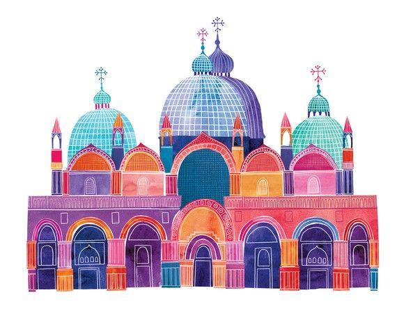 Basilique San Marco Illustration 14 x 11 par marisamidori sur Etsy