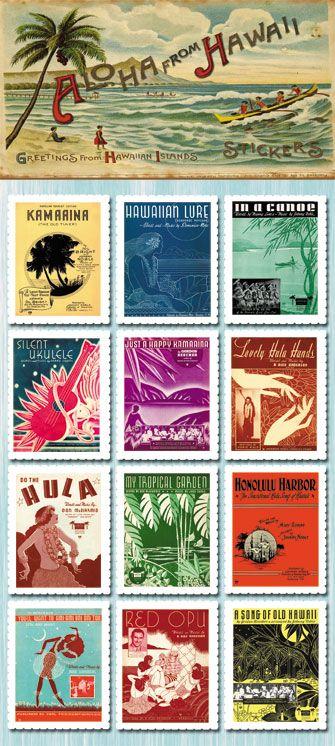 Vintage Hawaiian stickers
