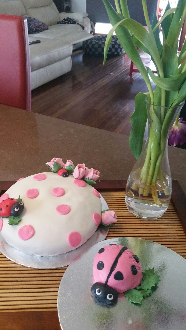 Baby's first birthday cake, lady bugs and small smash cake. Plus roses. Mainly fondant.