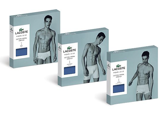 Final packaging concepts for Lacoste men's underwear.