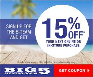 Big 5 Sporting Goods - Coupon & Email Club - http://www.momscouponbinder.com/big-5-sporting-goods-coupon-email-club/ #coupons #couponing #extremecouponers