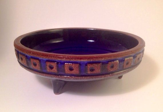 50s fantastic mid century modern swedish ceramic bowl Gabriel. Beautiful piece. Signed.