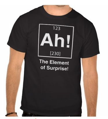 """Ah! The Element of Surprise!"" funny t-shirt for $27.95"