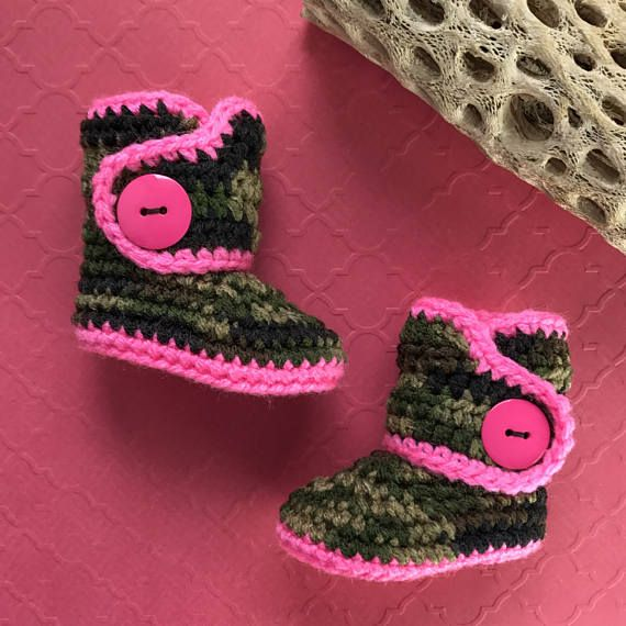Infant Cowgirl Boots Hot Pink Newborn Booties Camouflage Baby Booties Keepsake baby shower gifts -- new baby gift - baby clothing - gifts under $30 - gifts under $50 - pregnacy announcement #Newborngifts, #newborn #baby #babyboy, #babygirl, #genderneutral #genderreveal, #babyclothes, #handmade, #shopsmall, #organicbaby, #cutebabyclothes #babyshoes #babyboots #tweed #handmadebabyclothes #bohobaby #mountainbaby #washingtonbaby #oregonbaby #pnwbaby #eastcoastbaby #westcoastbaby #trendybaby…