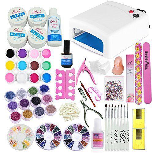 Coscelia Kit de Nail Art 36W Lampe 12 Couleurs Gel UV Ongles Colle Pinceau Cuticule Nail Art Décor Manucure Kits COS: 12 pots uv gel pure…